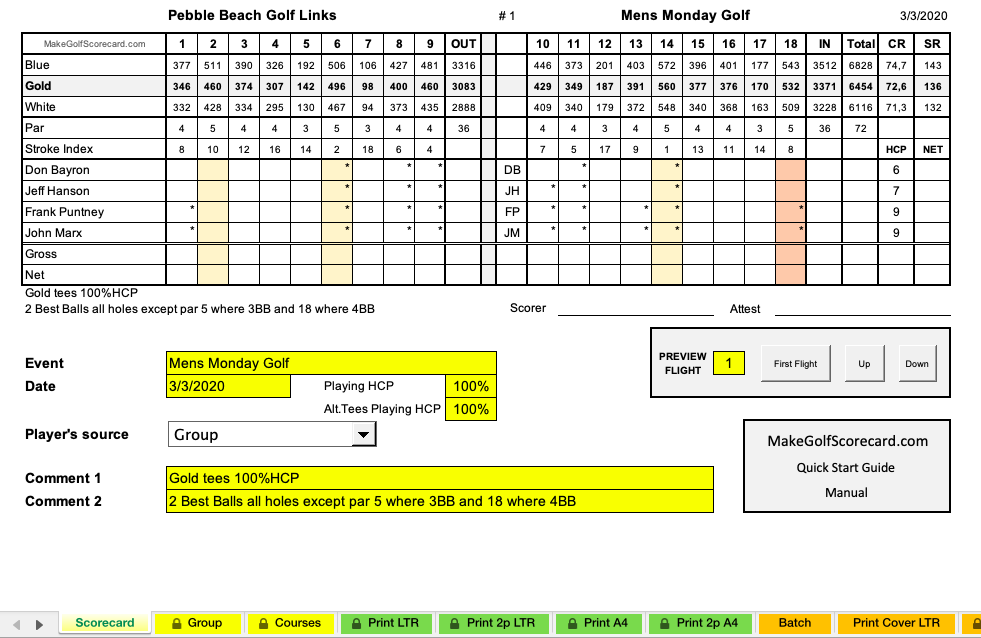 golf tournament scorecard template