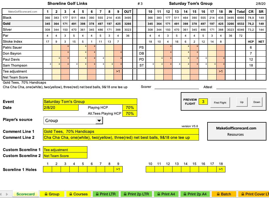 golf tournament scorecard Excel template